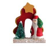 Santa Claus trästatyett Arkivfoton