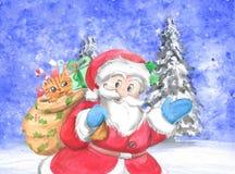 Santa Claus traditionnelle avec le chat dans le sac Photographie stock