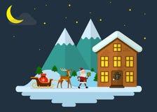 Santa Claus trae los regalos para la Navidad Ilustración del Vector