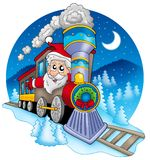Santa Claus in train Royalty Free Stock Photos