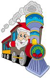 Santa Claus on train Stock Images
