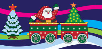 Santa claus on train Royalty Free Stock Images