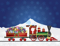 Santa Claus on Train with Presents on Night Snow S Stock Image