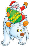 Santa Claus travels on the Polar Bear Royalty Free Stock Image