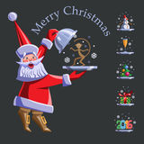 Santa Claus with a tray. Vector flat illustration set. Santa Claus with a tray. On the tray - tree with balloons, monkey, snowman, gift, glass of champagne, the Royalty Free Stock Images