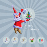 Santa Claus with a tray. Vector flat illustration set. Santa Claus with a tray. On the tray - tree with balloons, monkey, snowman, gift, glass of champagne, the Royalty Free Stock Photo