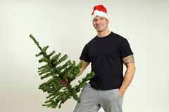 Santa Claus with tree Stock Photography