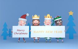 Santa Claus and Tree Magic Kings holding a placard with Greetings.3d illustration. royalty free stock images