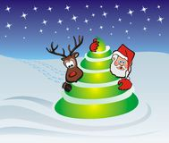Santa claus, tree and rudolph. Rudolph red nosed reideer, christmas scenery, hide and seek Stock Photos