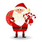 Santa Claus-tribunes met suikergoedriet stock illustratie