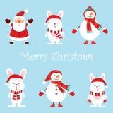 Santa Claus två roliga snögubbear, tre hare, fastställd vektoruppsättning för tecknad film, gullig stil som isoleras på blå bakgr royaltyfri illustrationer