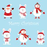 Santa Claus, two funny snowmen, three hares, cartoon set vector set, cute style isolated on blue background illustration royalty free illustration