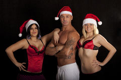 Santa Claus with two Girls Royalty Free Stock Images