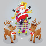 Santa claus and two reindeer on christmas day. Royalty Free Stock Photos