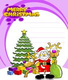 Santa claus two reindeer and a Christmas tree Stock Image