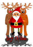Santa claus with two reindeers Stock Photos