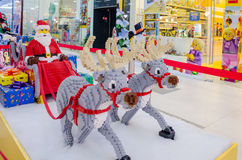 Santa Claus and two reindeers, figurines Stock Photography