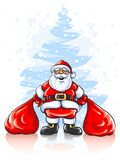 Santa Claus with two sacks of Christmas gifts royalty free illustration