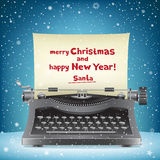 Santa Claus typewriter and snow Royalty Free Stock Photography