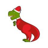 Santa Claus Tyrannosaurus. Christmas good dinosaur  Royalty Free Stock Photos