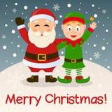 Santa Claus u. Weihnachtselfe auf dem Schnee Lizenzfreie Stockfotos