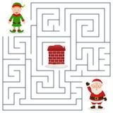 Santa Claus u. Weihnachtselfen-Labyrinth für Kinder Stockbild
