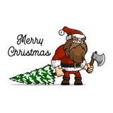 Santa Claus um lenhador cortou uma árvore de Natal para o feriado Foto de Stock