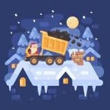Santa Claus in un autocarro a cassone giallo su un tetto che scarica carbone Fotografia Stock