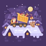 Santa Claus in un autocarro a cassone su un tetto che scarica i presente Immagini Stock