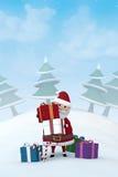 Santa Claus in un paesaggio nevoso di inverno Immagini Stock