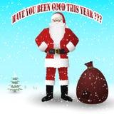Santa Claus in un vestito rosso con una borsa dei regali Avete stato buono questo anno illustrazione di stock