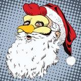 Santa Claus in una maschera del gallo Simbolo dell'anno horoscope illustrazione di stock