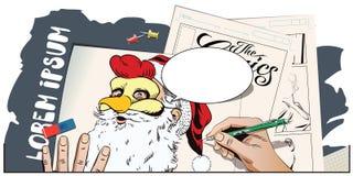 Santa Claus in una maschera del gallo Simbolo dell'anno horoscope illustrazione vettoriale