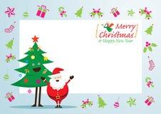 Santa Claus- und Baum-Charaktere, Ikonen und Rahmen Stockfoto