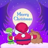Santa Claus und Elfe mit Weihnachtsguten sachen Lizenzfreie Stockfotografie