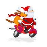 Santa Claus und Hund reiten den Roller Lizenzfreie Stockfotografie