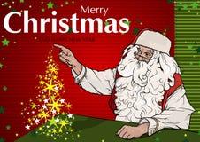 Santa Claus und magische Weihnachtsbaum-Gruß-Karte Stockbild