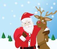 Santa Claus und Ren Stockbilder