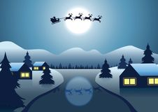 Santa Claus und Ren fliegen über das Dorf nahe Fluss herum vektor abbildung