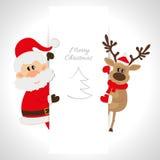 Santa Claus und Ren mit Raum für Text Lizenzfreie Stockfotografie