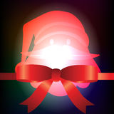 Santa Claus und rotes Band mit Weihnachtshintergrund und Grußkartenvektor stock abbildung