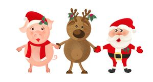 Santa Claus und Rotwild auf weißem Hintergrund Weihnachtsmann und roter Ball Nette Karte der Winterkarikatur, Fahne der frohen We Stockfotografie