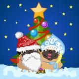 Santa Claus und Schneemädchen mit Weihnachtsbaum lizenzfreie abbildung