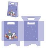 Santa Claus und seine Helfer Handtaschenpaketmuster Lizenzfreie Stockbilder