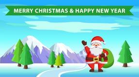Santa Claus und Tasche mit Geschenk-Vektor-Illustration Stockfoto