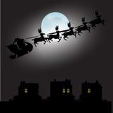 Santa Claus und Vollmond mit Weihnachtshintergrund und Grußkartenvektor lizenzfreie abbildung