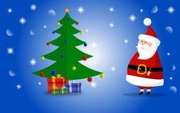 Santa Claus und Weihnachtsbaum und Geschenke mit blauem glänzendem Hintergrund Auch im corel abgehobenen Betrag stockbilder