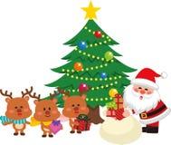 Santa Claus- und Weihnachtsbaum stellte 3 ein Santa Claus, die ein Geschenk von einer Tasche gibt stock abbildung