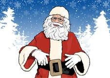 Santa Claus und Winter-Hintergrund Stockfotos