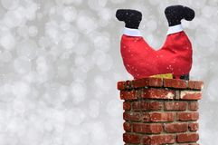 Free Santa Claus Upsidedown In A Chimney Royalty Free Stock Photography - 134062507